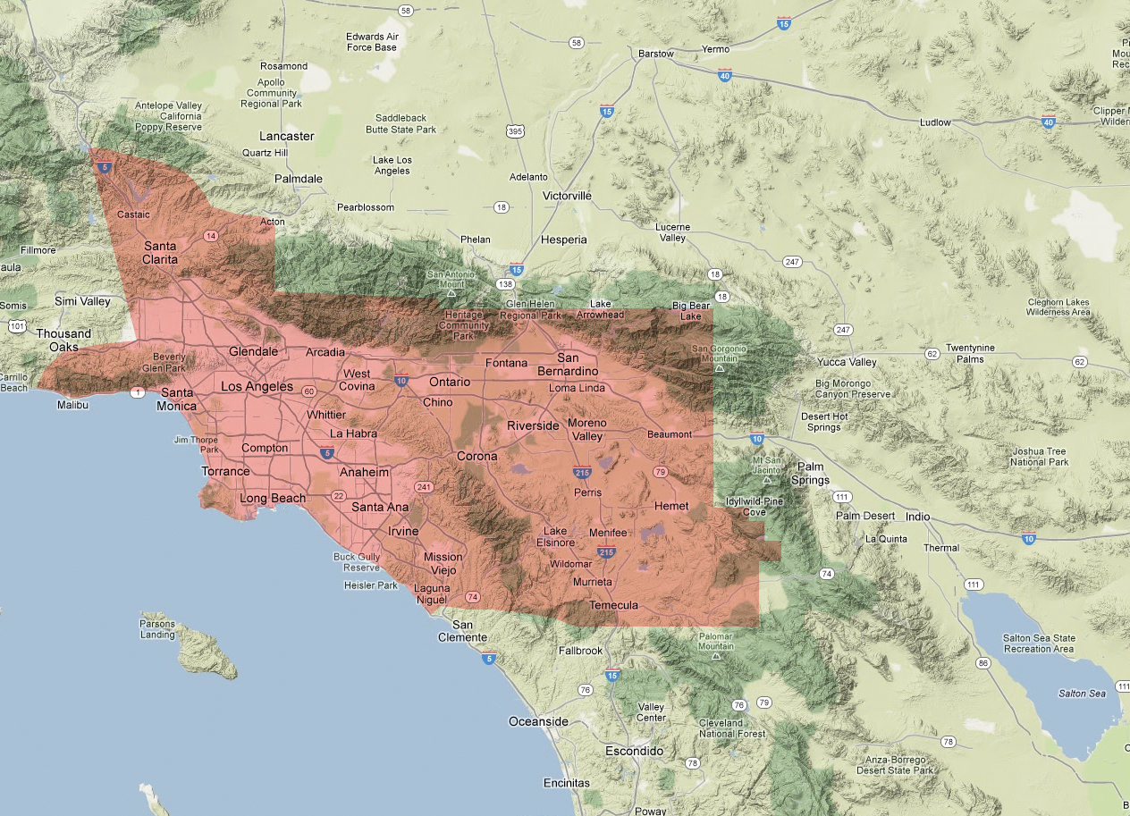 Los Angeles Air Pollution Declining Losing Its Sting - Los angeles pollution map