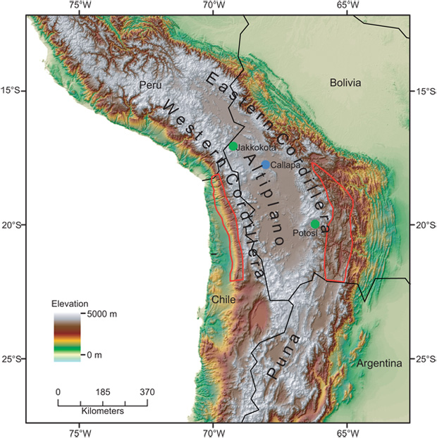 Map on Central Andes Plateau Study Area