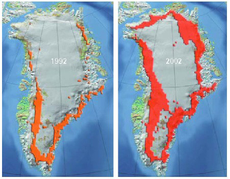 melt zone shown in side-by-side comparisons of Greenland, 1992 and 2002