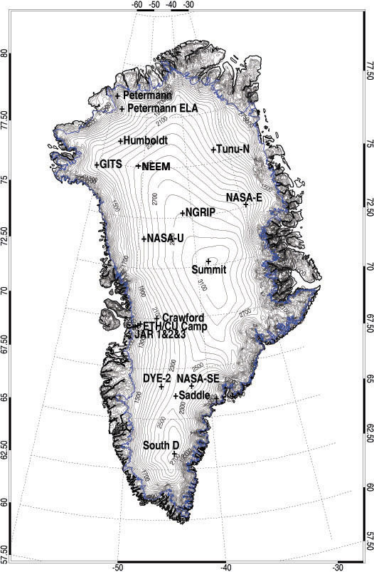 Map Of Automatic Weather Stations AWS In Greenland Climate - Map of greenland